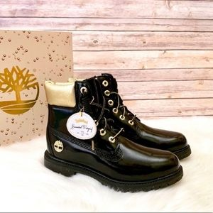 "Timberland Premium 6"" Black Patent Leather Boots"